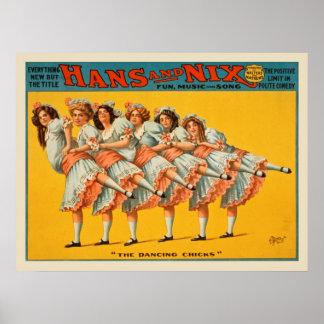 Poster vintage de Hans e da comédia do Nix
