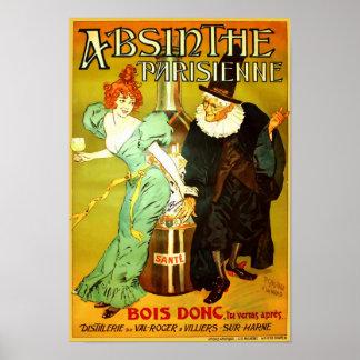 Poster vintage de Parisienne do absinto
