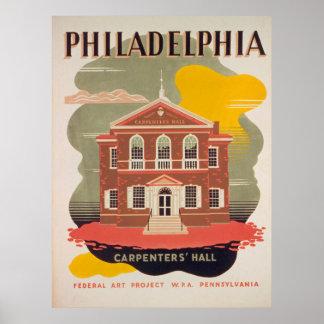 Poster vintage de Salão dos carpinteiros de