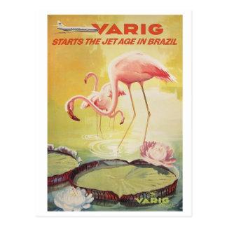 Poster vintage de Varig para o cartão de Brasil Cartão Postal