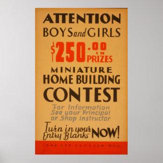 Poster Vintage de WPA da competição dos meninos e das