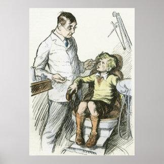 Poster Vintage dental, dentista com um menino na cadeira