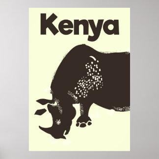Poster vintage do africano do rinoceronte de Kenya