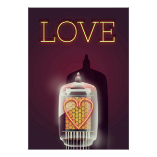 """Poster vintage do """"amor"""" do tubo de Nixie"""