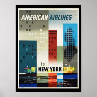 Poster vintage do art deco de New York