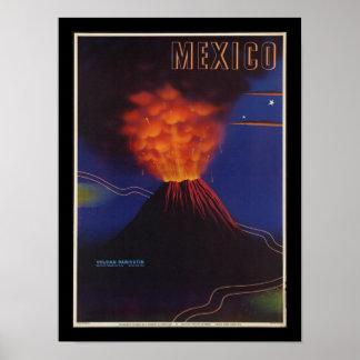 Poster vintage do art deco do vulcão de México