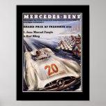 poster vintage do carro de competência dos anos 50