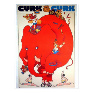 Poster vintage do elefante de Cyrk Cartão Postal