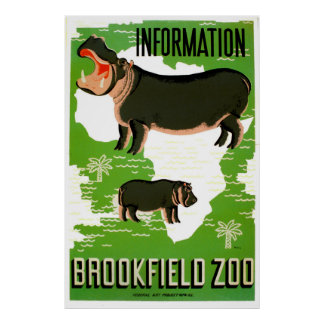 Poster vintage do Hippopotamus do jardim zoológico