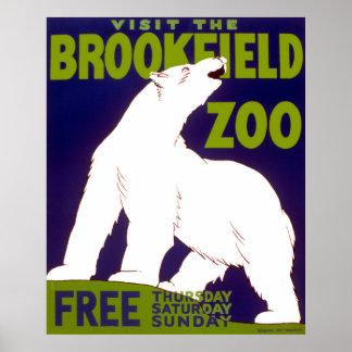 Poster vintage do jardim zoológico de Brookfield