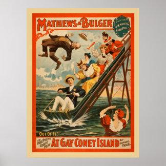 Poster vintage do jogo da comédia musical de Coney