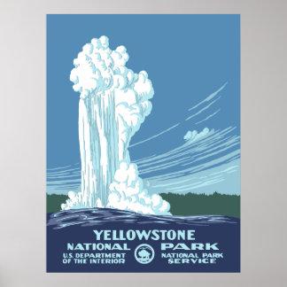 Poster vintage do parque nacional de Yellowstone