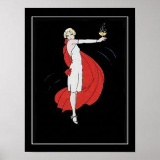 Poster vintage do party girl do art deco