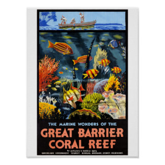 Poster vintage do recife de corais da barreira de