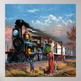 Poster vintage do trem de correio