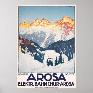 Poster vintage do viagem da suiça das montanhas de
