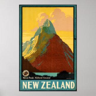 Poster vintage do viagem de Nova Zelândia
