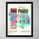 Poster vintage do viagem de Sao Paulo Brasil