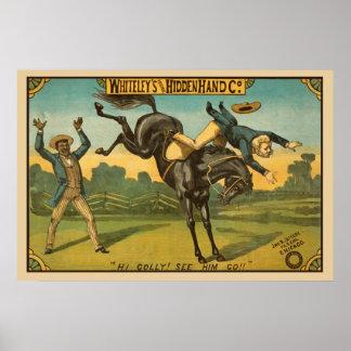 Poster vintage escondido da mão