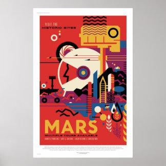 Poster Vintage futuro do espaço de Marte da visita do