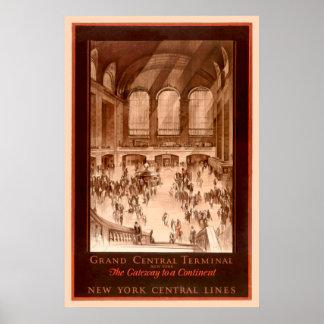 Poster vintage grande do terminal central