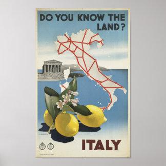 Poster Vintage Italia você sabe o viagem da terra