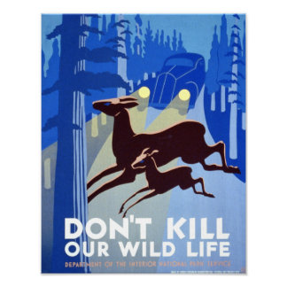 Poster vintage - não mate nossos animais selvagens pôster
