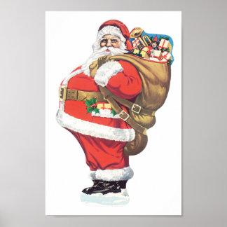 Pôster Vintage Papai Noel, Natal do Victorian cortado