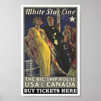 Poster vintage para a linha branca da estrela