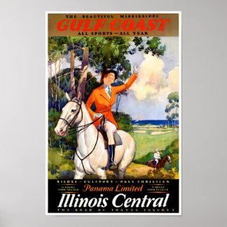 Poster vintage restaurado Mississippi de Illinois