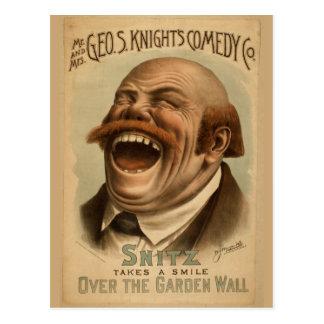 Poster vintage: Snitz sobre a parede do jardim Cartão Postal