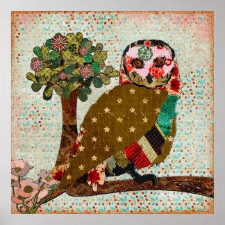 Poster vintage sonhador do dia da coruja cor-de-ro