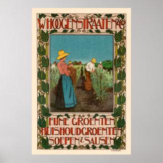 Poster vintage vegetal francês do anúncio