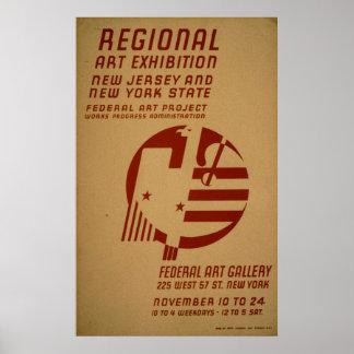 Pôster Vintage WPA de New-jersey da exposição da galeria