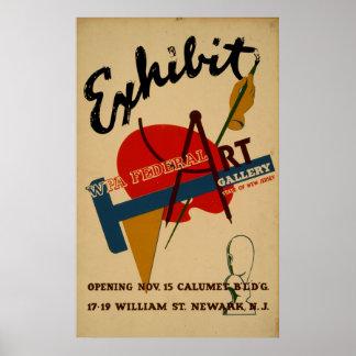 Poster Vintage WPA de New-jersey da exposição da galeria