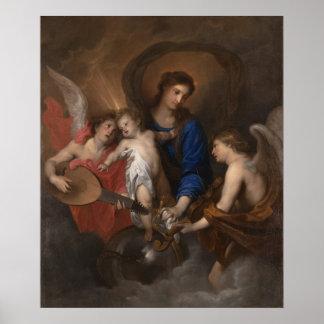 Pôster Virgin e criança com anjos do fazer da música