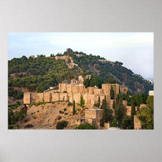 Poster Vista da fortaleza de Alcazaba em Malaga