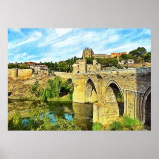 Poster Vista da ponte de St Martin em Toledo.