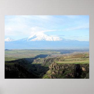 Pôster Vista na montanha Ararat do lado arménio