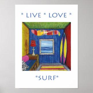 Poster vivo do surf do amor pôster