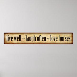Pôster Vivo, riso, amor - cavalos