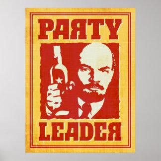 Pôster Vladimir Lenin - partido Satirical de Bolshevik