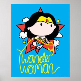 Poster Vôo da mulher maravilha de Chibi com laço