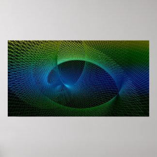 Pôster Vortex espiral do Fractal azul verde preto