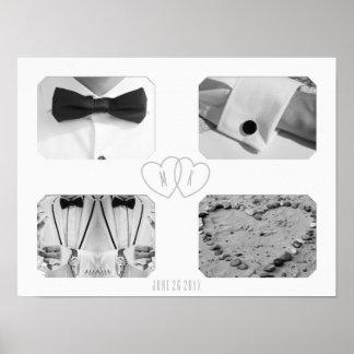 Poster Wedding do monograma do coração da colagem