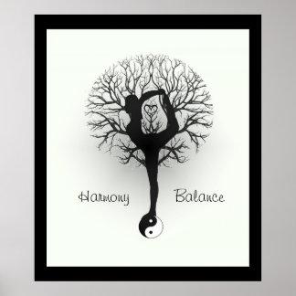 Pôster Yin Yang, árvore de vida, mulheres, ioga