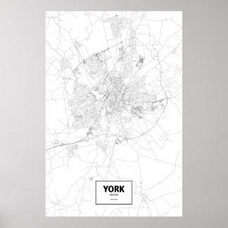 Pôster York, Inglaterra (preto no branco)