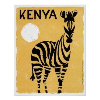 Pôster Zebra de Kenya África do vintage
