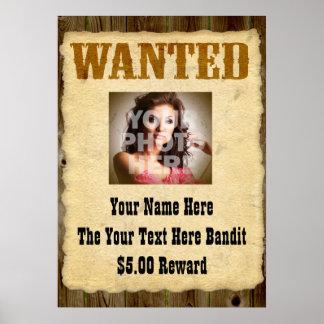 Posters à antiga queridos personalizados da foto