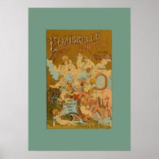 Posters azuis & amarelos L'Ombrelle da coleção da
